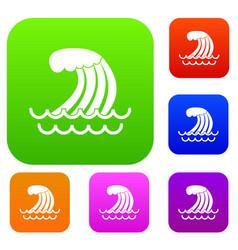 Tsunami wave set collection vector