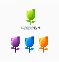 tulip colorful logo design vector image