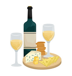 Two glasses white wine cheese platter vector