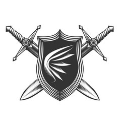 two sword with shield vector image