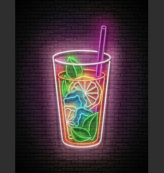 Vintage glow signboard with ice tea in tall glass vector