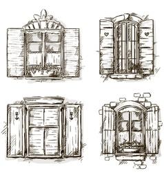 vintage window hand drawn set drawings vector image