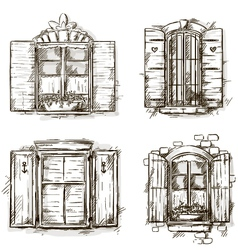 Vintage window hand drawn set of drawings vector image