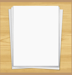 white notebook paper sheets isolated on wood vector image