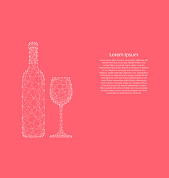 Wine bottle and glass from abstract futuristic vector
