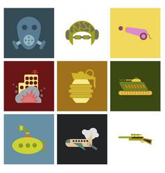 World war line icons minimal pictograph design vector