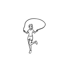 Young girl skipping hand drawn outline doodle icon vector