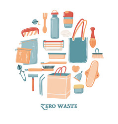 Zero waste objects in round shape for women vector