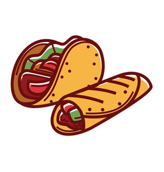 crispy taco and buriito in pita bread isolated vector image