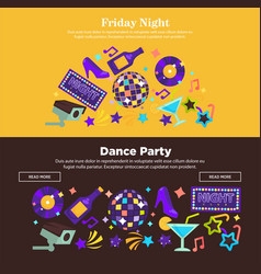 dance party at friday night promotional internet vector image vector image