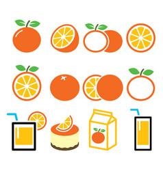 orange icons set - food nature concept design vector image vector image