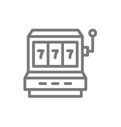 simple jackpot slot machine line icon symbol and vector image
