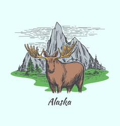 alaska poster with moose and mountains vector image vector image