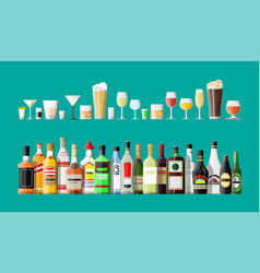 alcohol drinks collection bottles with glasses vector image
