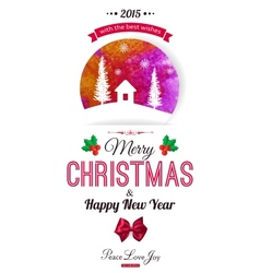 Christmas typographical background Watercolor vector image