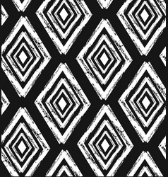 hand drawn seamless tribal pattern in black and vector image