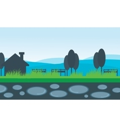 scenery house and mountain backgrounds vector image