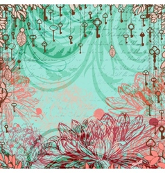 Vintage background with chrysanthemum flowers and vector image vector image