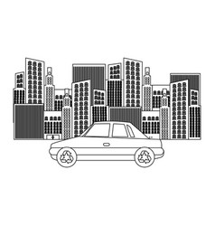 black silhouette of city buildings and car vector image vector image
