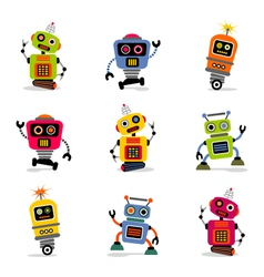 cute robots set 2 vector image vector image