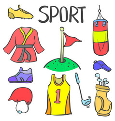 Doodle of sport equipment various style vector