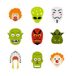 mask icon set flat style vector image