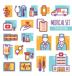 Medical Decorative Line Icons Set vector image vector image