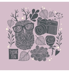 Owl in eyeglasses with horns vector image