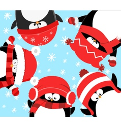 Penguins Celebrating Christmas vector image vector image