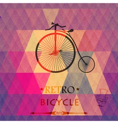 Retro bicycle on a grungy background of triangles vector image vector image