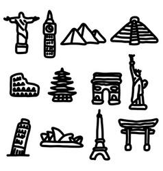 travel landmarks around the world icon set vector image vector image