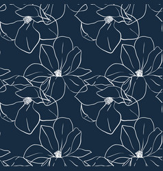 Trendy seamless floral print with magnolia flowers vector