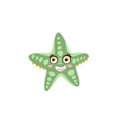cute starfish sea creature hand drawn vector image