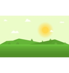 Flat field and mountain landscape vector