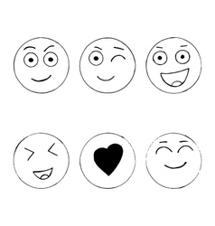 Set of hand drawn happy emoji isolated on white vector image