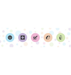 5 positive icons vector