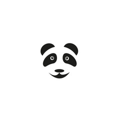 a cute head baby panda bear smiles on a white vector image