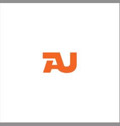 A u letter logo design on black color background vector