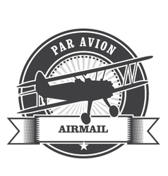Airmail stamp with biplane - per avion vector