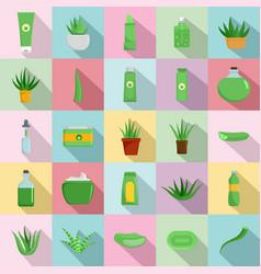 Aloe vera plant logo icons set flat style vector