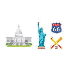 american national symbols set usa landmarks vector image