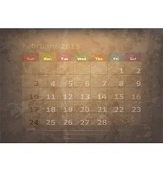 antique calendar of February vector image