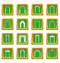 Arch set icons set green vector