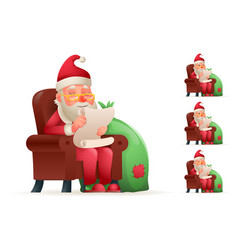 Armchair sit christmas santa claus pleased happy vector