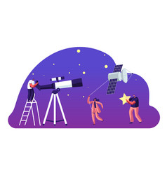 Astronomy science character watching on space vector