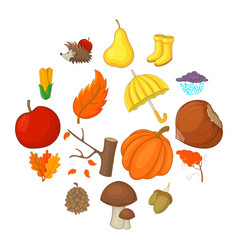 Autumn items icons set cartoon style vector