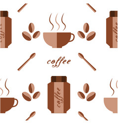 bank and a cup of coffee with a spoon and coffee vector image