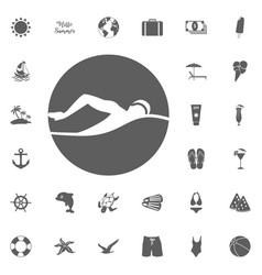 beach icons set elegant series vector image