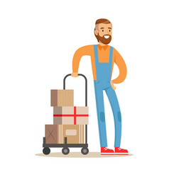beardy delivery service worker with loaded cart vector image