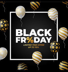 black friday sale poster with white and vector image